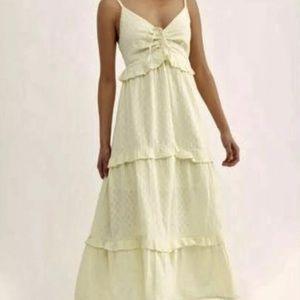 Free People Maxi Dress LemonDotted Swiss Crochet L